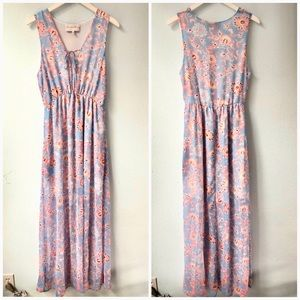 Charles Henry blue floral maxi sun dress